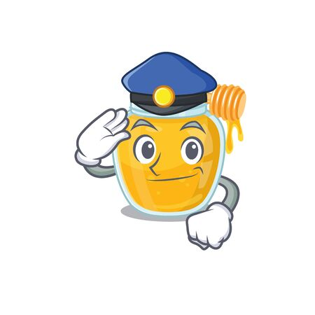 A manly honey Cartoon concept working as a Police officer
