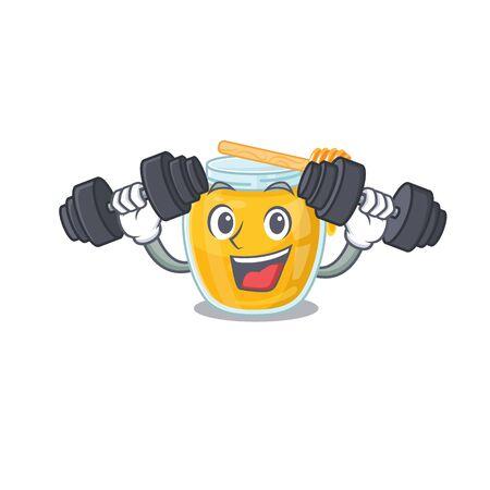 Sporty Fitness exercise honey mascot design using barbells. Vector illustration