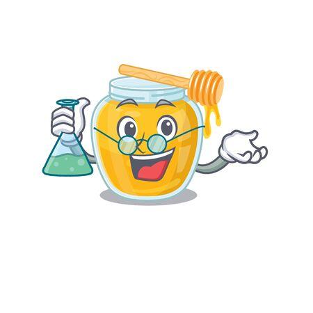 Cool honey Professor cartoon character with glass tube. Vector illustration
