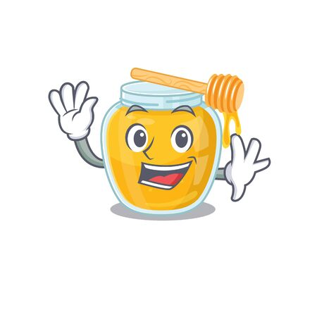 Waving friendly honey mascot in design style