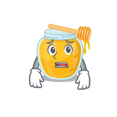 A picture of honey having an afraid face. Vector illustration