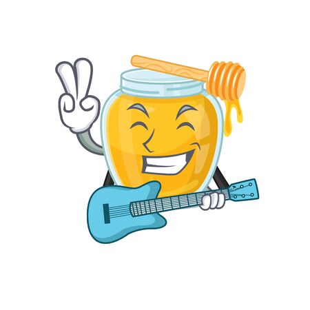 A picture of honey playing a guitar. Vector illustration