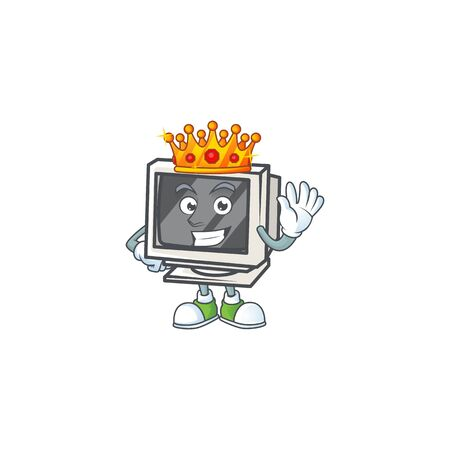 A dazzling of vintage monitor stylized of King on cartoon mascot design  イラスト・ベクター素材