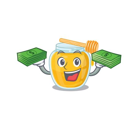 cool rich honey character having money on hands. Vector illustration