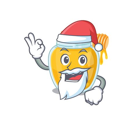 Honey in Santa cartoon character style with ok finger. Vector illustration