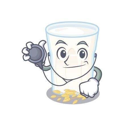 A mascot picture of oats milk cartoon as a Doctor with tools. Vector illustration Stock Illustratie