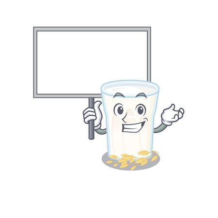A cute picture of oats milk mascot design with a board. Vector illustration