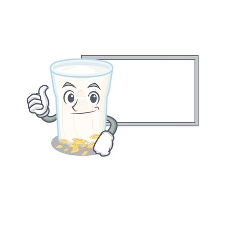 Thumbs up of oats milk cartoon design having a board. Vector illustration