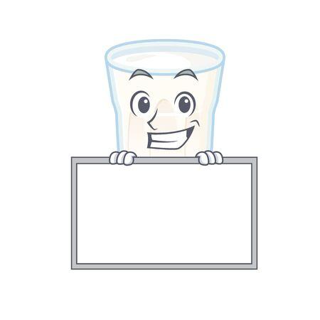 Oats milk cartoon design concept grinning with board. Vector illustration Ilustração