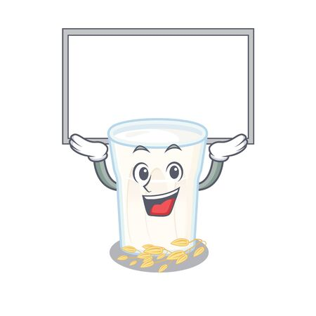 A oats milk mascot picture raised up board. Vector illustration