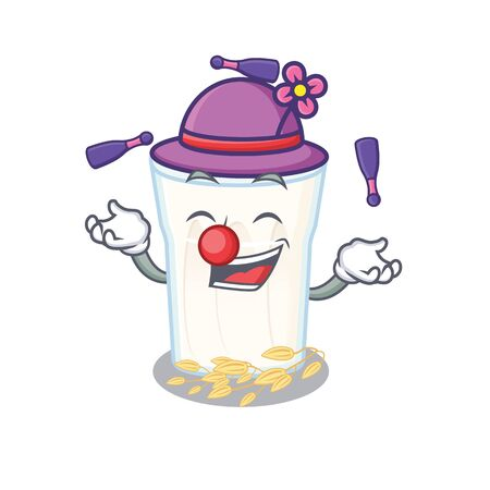 a lively oats milk cartoon character design playing Juggling. Vector illustration