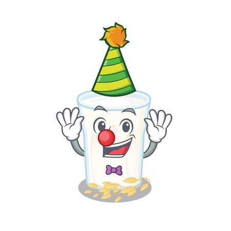 Funny Clown oats milk cartoon character mascot design. Vector illustration