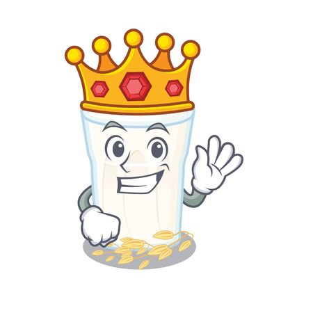 A cartoon mascot design of oats milk performed as a King on the stage. Vector illustration Illustration