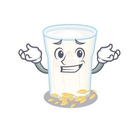 cute Grinning oats milk mascot cartoon style. Vector illustration