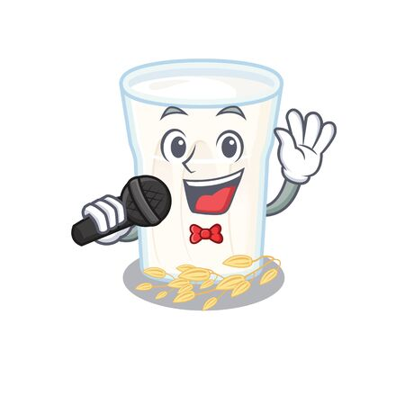 Happy oats milk singing on a microphone. Vector illustration Stock Illustratie