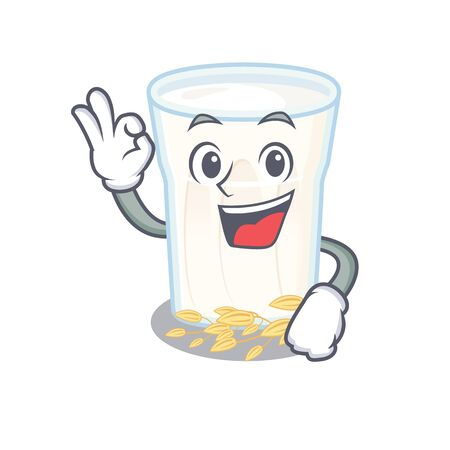 A funny picture of oats milk making an Okay gesture. Vector illustration Stock Illustratie