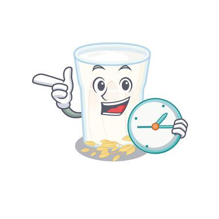 cartoon character concept oats milk having clock. Vector illustration