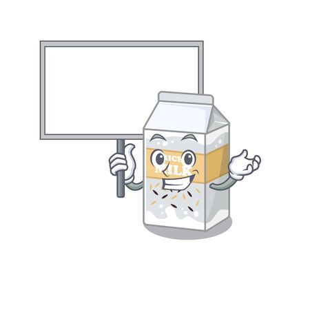 A cute picture of rice milk mascot design with a board. Vector illustration