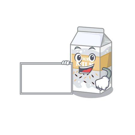 cartoon character of rice milk design concept bring a board. Vector illustration Illusztráció
