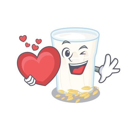 Romantic oats milk cartoon picture holding a heart. Vector illustration 일러스트