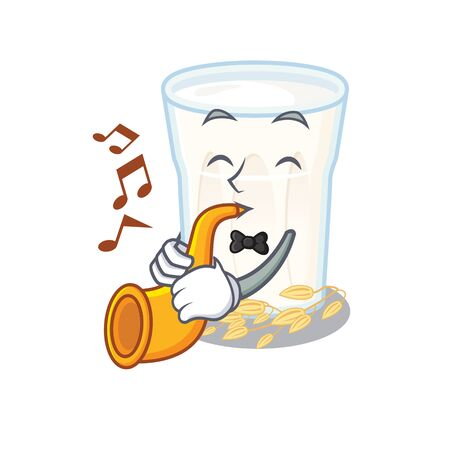 mascot design concept of oats milk playing a trumpet. Vector illustration