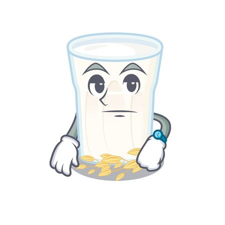 cartoon character design of oats milk on a waiting gesture. Vector illustration