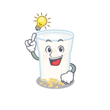 a clever oats milk cartoon character style have an idea gesture. Vector illustration 일러스트