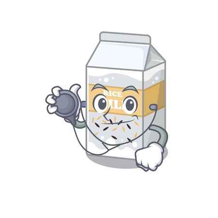A mascot picture of rice milk cartoon as a Doctor with tools. Vector illustration