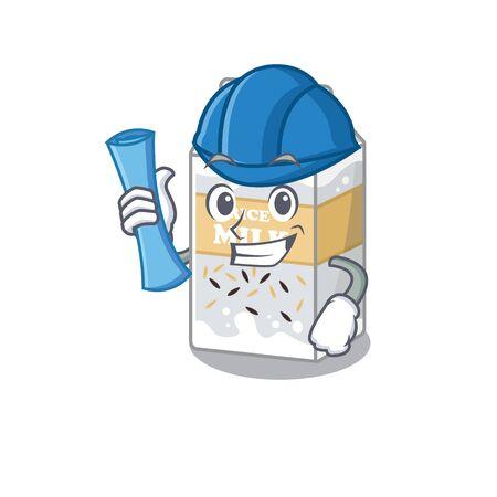 A success of rice milk Architect having blue prints and blue helmet. Vector illustration