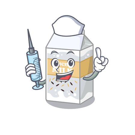 A rice milk hospitable Nurse character with a syringe. Vector illustration