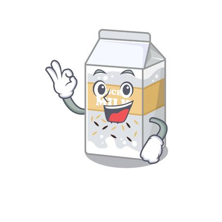 A funny picture of rice milk making an Okay gesture. Vector illustration