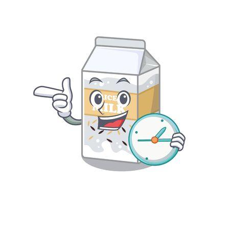 cartoon character concept rice milk having clock. Vector illustration