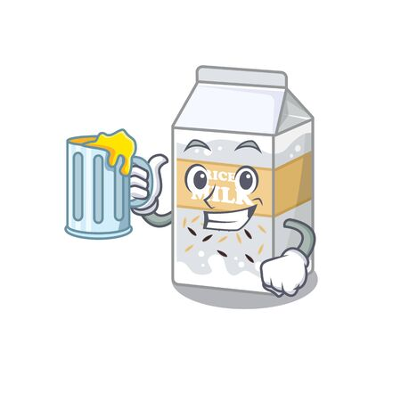 Smiley Rice milk mascot design with a big glass. Vector illustration