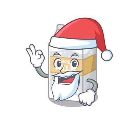 Rice milk in Santa cartoon character style with ok finger. Vector illustration 矢量图像