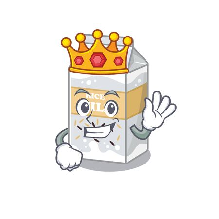 A cartoon mascot design of Rice milk performed as a King on the stage. Vector illustration Ilustrace