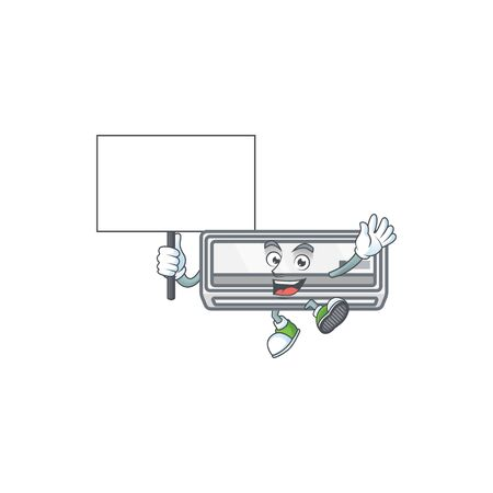 A picture of air conditioner cartoon character with board