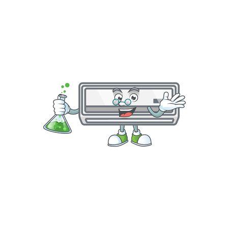 A genius Professor air conditioner cartoon character with glass tube Stock Illustratie