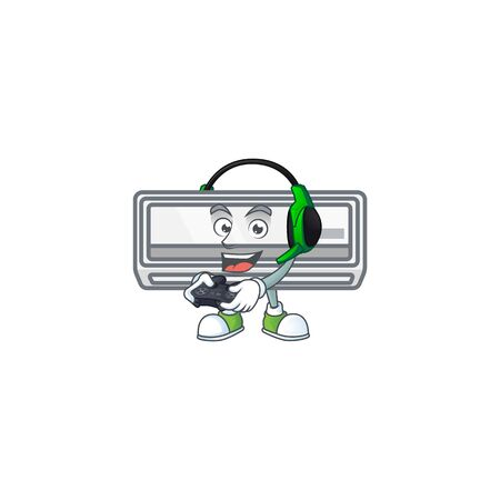 Air conditioner cartoon picture play a game with headphone and controller. Vector illustration
