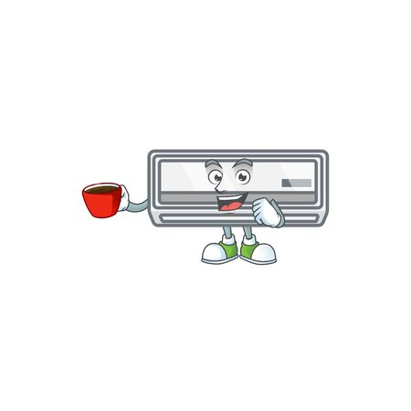 Cool air conditioner cartoon character with a cup of coffee