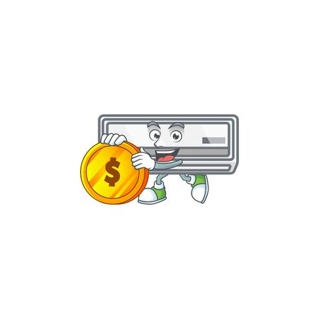 an elegant air conditioner mascot cartoon design with gold coin. Vector illustration