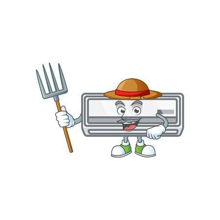 sweet Farmer air conditioner cartoon mascot with hat and tools