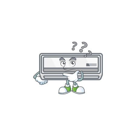 Air conditioner cartoon mascot style in a confuse gesture
