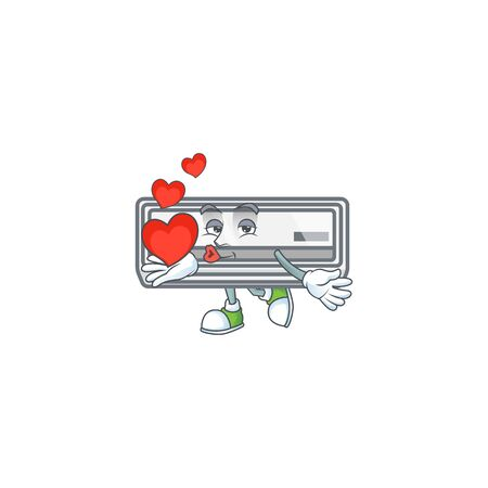 A sweetie air conditioner cartoon character holding a heart