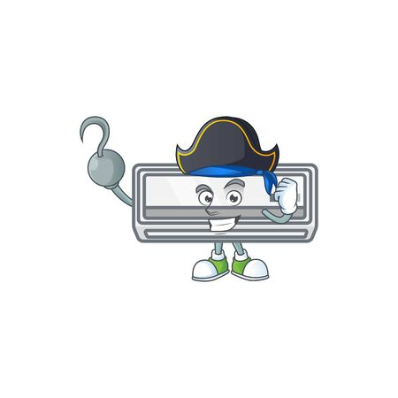 Calm one hand Pirate air conditioner mascot design wearing hat 일러스트