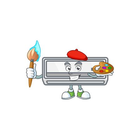 An elegant air conditioner painter mascot icon with brush