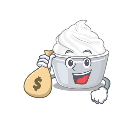Rich and famous sour cream cartoon character holding money bag. Vector illustration