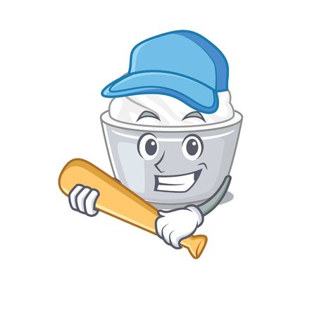 Smiley Funny sour cream a mascot design with baseball. Vector illustration