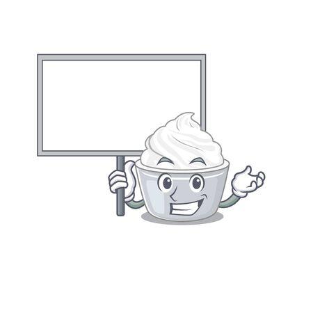A cute picture of sour cream mascot design with a board. Vector illustration