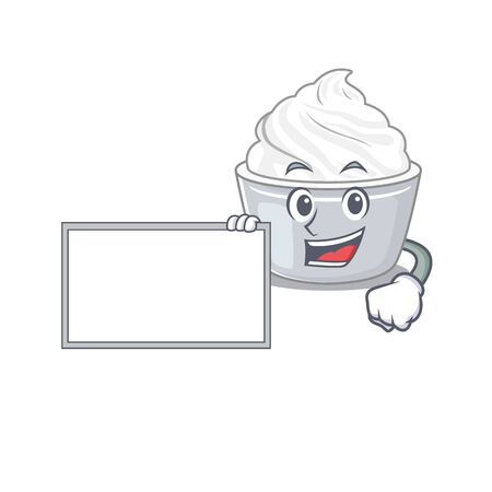 cartoon character of sour cream design concept bring a board. Vector illustration Ilustração