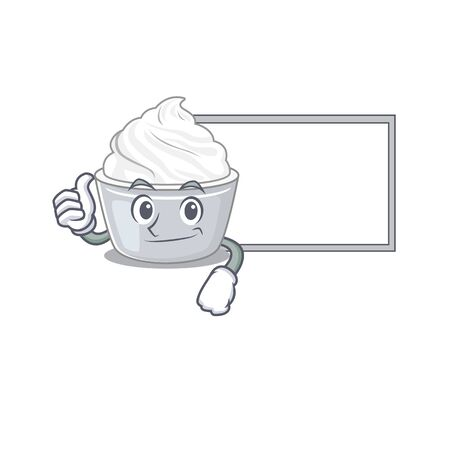 Thumbs up of sour cream cartoon design having a board. Vector illustration